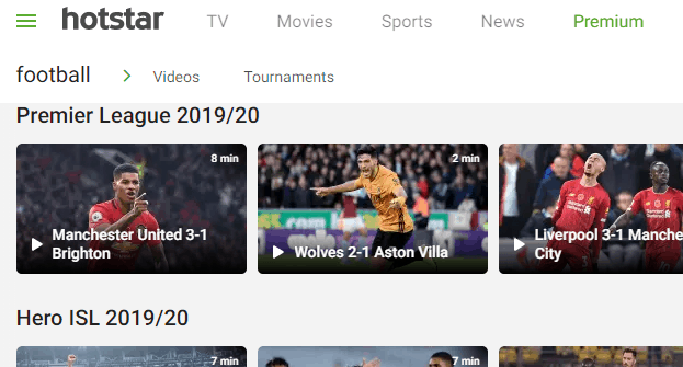 Hotstar live sports streaming site