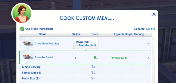 Custom food interactions