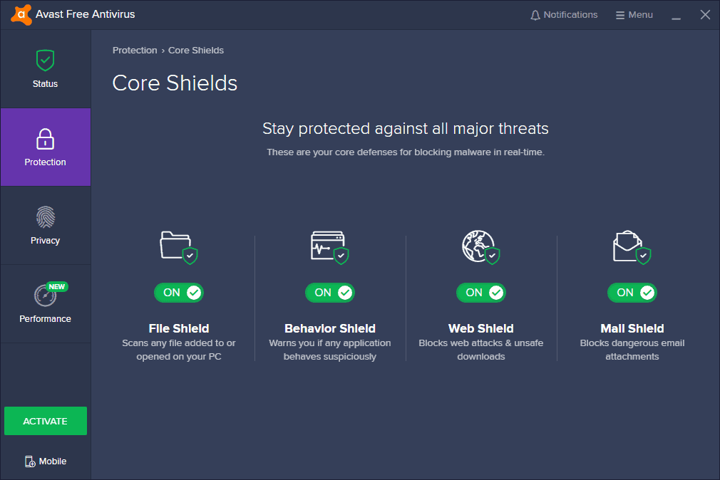 Avast User Interface