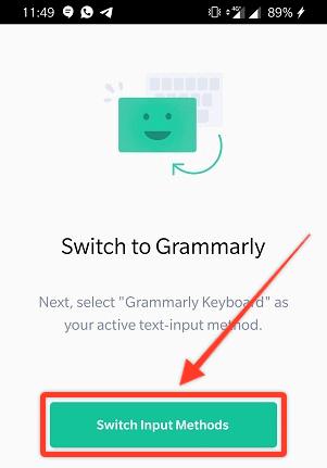Grammarly Keyboard Switch Input Methods