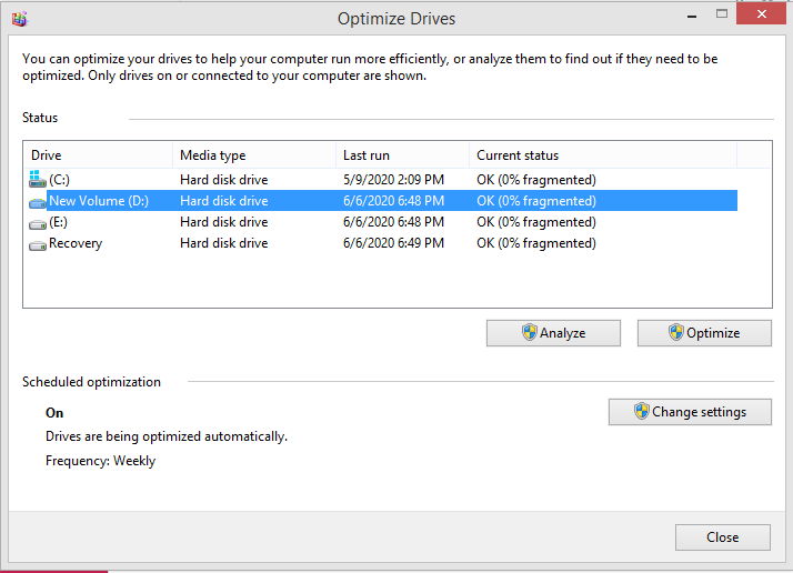 Windows 10 Hard Drive Defragment