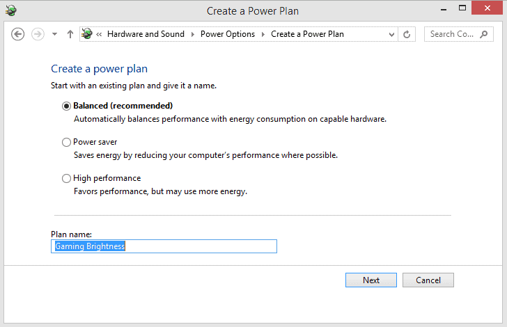 windows 10 power plan setting