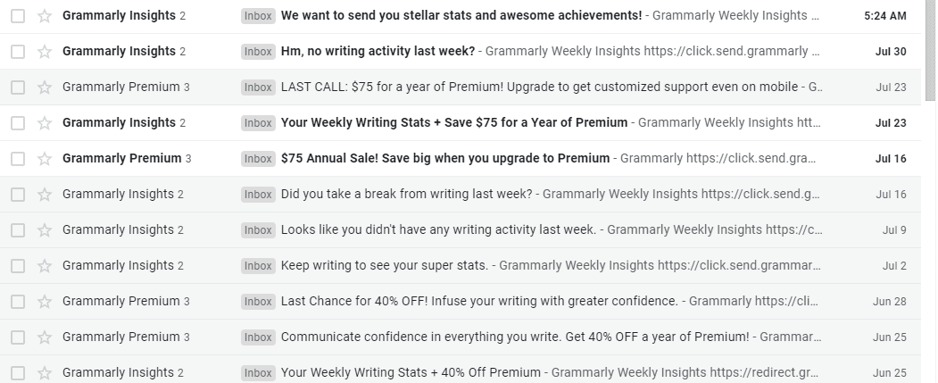 Grammarly Student Discount Promotional Emails