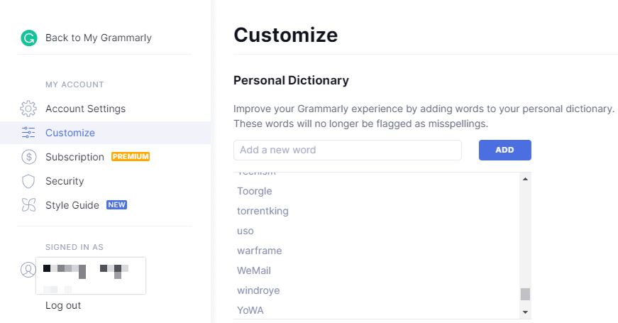 Grammarly Personal Dictionary