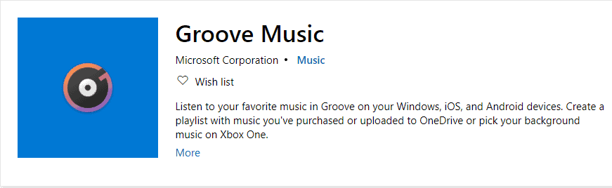Groove Music Player For Windows 10