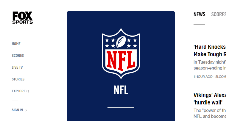 FoxSports.com NFL Live Streaming Website