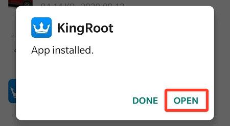 Open KingRoot App