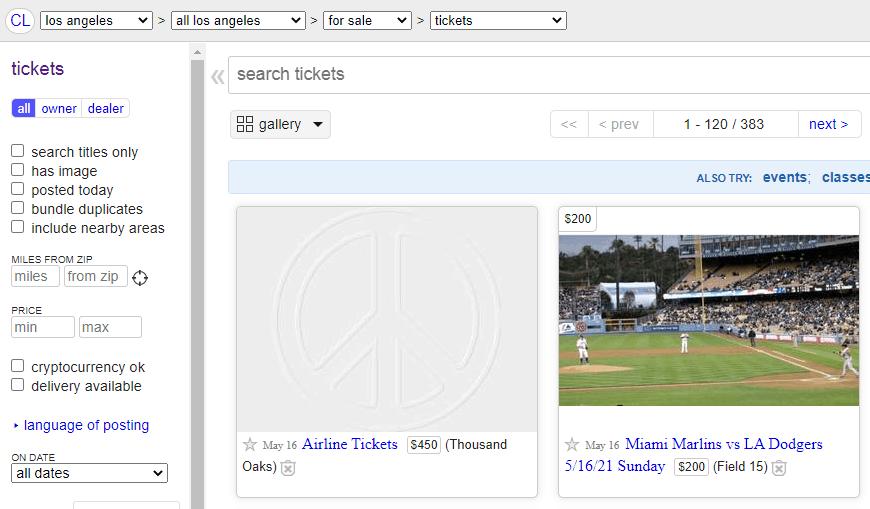 Craigslist - Ticket Resale Site