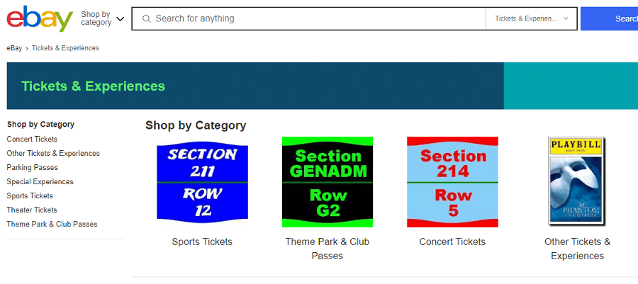 eBay - Ticket Resale Website